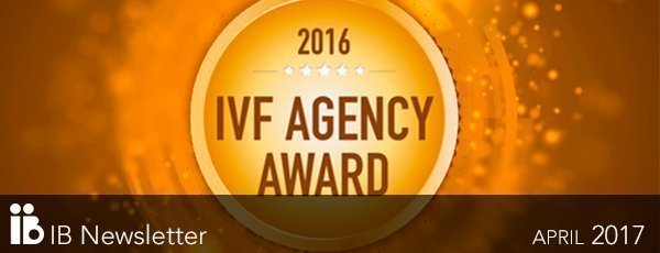 Prix IVF Agency of the year 2016 à l'agence européenne de Fécondation in Vitro.