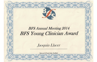 Premio BFS Best Young Clinician. Otorgado a la mejor Comunicación Oral en BFS Annual Meeting 2014