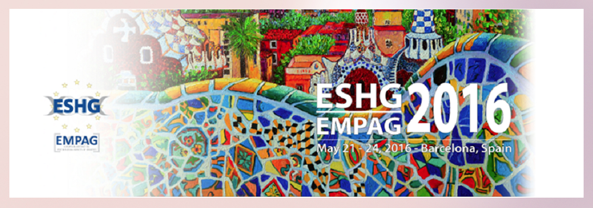 European Human Genetics (ESHG) Conference 2016. Barcelona. May 2016.
