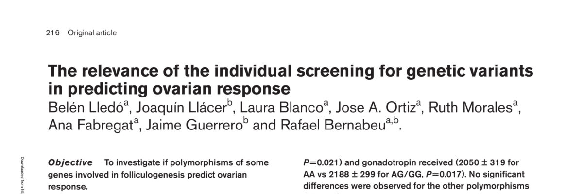 The relevance of the individual screening for genetic variants in predicting ovarian response