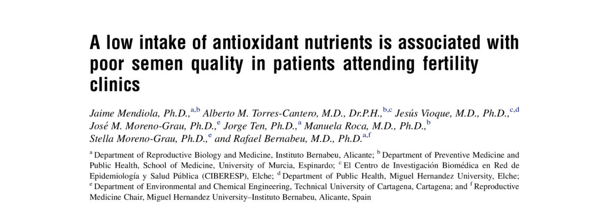 A low intake of antioxidant nutrients is associated with poor semen quality in patients attending fertility clinics