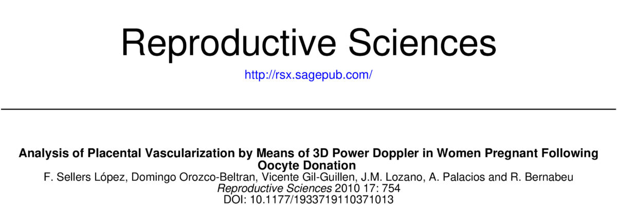 Analysis of Placental Vascularization by Means of 3D Power Doppler in Women Pregnant Following Oocyte Donation