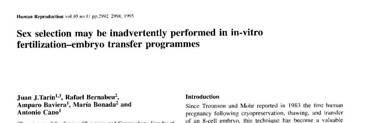 Sex selection may be inadvertently performed in in-vitro fertilization-embryo transfer programmes