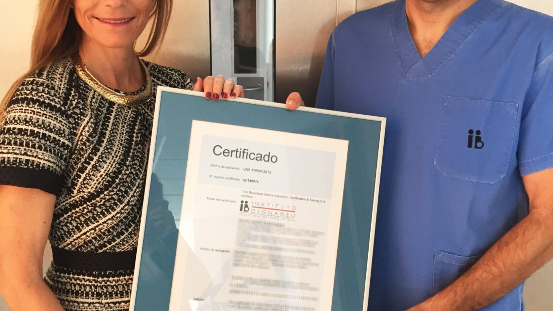 Instituto Bernabeu is the first clinic in the Valencia and La Mancha regions of Spain to be awarded the new UNE 179007 assisted reproduction quality standard certification